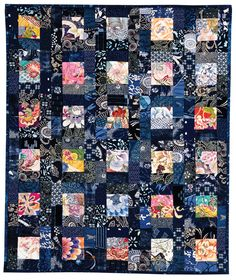 Bento Box quilt, buy Judy Turner. I have some beautiful Japanese Ikat that I bought at a yard sale more than 15 years ago that I have been saving for a quilt. I might do something like this.