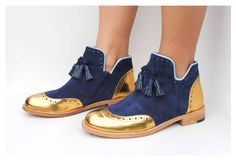 Original ABO ancle boots available at WWW.ABO-SHOES.COM  #abo-shoes #ABO #shoes #brogues #oxfords #style #fashion #streetstyle #musthave #ancleboots #fashion #belgrade #handmade #design #boots #tassels #navy #suede #gold #navyandgold