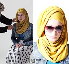I love sunglassed with hijab! This hjijab style looks really nice even if it seems to take some time to wrap. I wonder if it stays on place. Arab Fashion, Islamic Fashion, Muslim Fashion, Modest Fashion, Stylish Hijab, Hijab Chic, Hijab Style Tutorial, Simple Hijab, Modest Wear