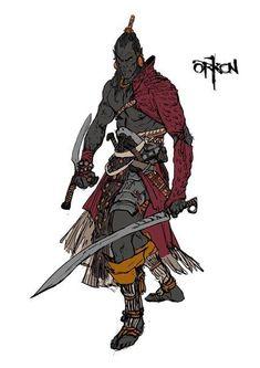 m Half Orc Half Drow Elf Barbarian Sword Shortsword Underdark wilderness Fantasy Character Design, Character Creation, Character Concept, Character Art, Concept Art, Dark Souls 2, Fantasy Armor, Medieval Fantasy, Dnd Characters