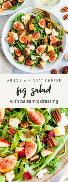 An easy fig salad with arugula, chopped apples, dried cranberries, pecans and goat cheese topped with a delicious balsamic dressing. Perfect as a light lunch, side salad or topped with protein for a meal sized salad. Healthy Thanksgiving Recipes, Good Healthy Recipes, Paleo Recipes, Real Food Recipes, Healthy Meals, Free Recipes, Fig Salad, Creamy Balsamic Vinaigrette