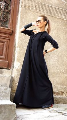 New Spring Maxi Dress / Black Kaftan Cotton Dress /Side Pockets Dress / Extravagant Cotton Party Dress /Daywear Dress Black Kaftan, Dress Black, Will Turner, Overall, Cotton Dresses, Models, Party Dress, Casual Outfits, Tunic Tops