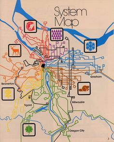Historical Map: TriMet Bus System Map, Portland, Oregon, 1978 Not much use for route planning: this map was really made just to show how the...