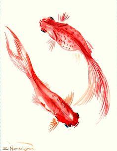 Goldfish, Original watercolor painting, 12 X 9 in, koi fish, two goldfish on Etsy, $24.00