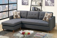 "Poundex Sectional Sofa F7094 $499  Description:  Prep your living space with this 2-piece reversible sectional stocked in a smooth linen-like finish and seating accent tufting. This modular piece is also supported with short pegged leg supports and two accent pillows. Available in black or chocolate.  Materials:  Particle Board Pine Wood Rubber Wood leg Blue grey Polyfiber Dimensions:  Reversible Sectional Sofa: 86"" x 59"" x 33""H"