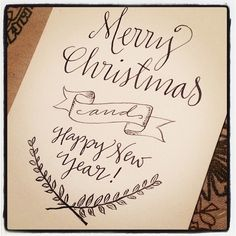 Merry Christmas and Happy New Year - 4X6 print by Paperglaze Calligraphy