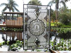 Vintage Stained Glass Plate Panel Depression Glass Fostoria   Etsy