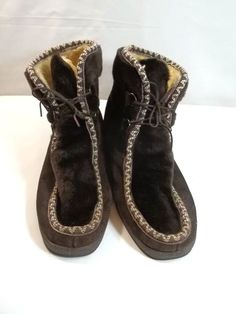 60920a26477b Snowland Vinatge Womens Winter Boots Leather Faux Fur 10 Brown Sherpa Lined   Snowland  AnkleBoots