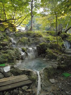 Spend your time in Japan soaking in the hot springs throughout the volcanic island. Choose your favorite out of these top onsens/spas around Japan. Japanese Bath, Japanese Gardens, Osaka, Places To Travel, Places To Go, Japanese Hot Springs, Japanese Travel, Water Features, Kyoto