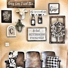 This farmhouse style gallery wall is perfection! Love my custom signs by Junque 2 Jewels that made this area even more personal to my family. Family Wall Decor, Family Room Decorating, Hallway Decorating, Country Decor, Rustic Decor, Farmhouse Decor, Rustic Signs, Farmhouse Style, Home Living Room
