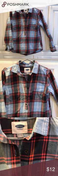 Blue and black plaid tunic Super cute and soft light blue and black flannel pullover tunic. Buttons down half of front. Old navy size S. Like new. Old Navy Tops Tunics