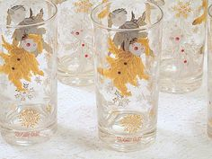 Holly Boy bar or table glasses vintage by ThePeddlersDaughter