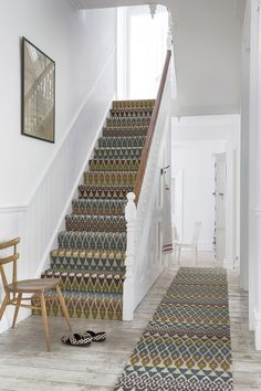 How Much Does It Cost to Carpet Stairs Traditional Staircase Also Colour Hallway Pattern Patterned Carpet Rug Runner Stair Runner Staircase Carpet Staircases Stairs Wall Art Wood Chair Wooden Floor Stairway Carpet, Carpet Stair Treads, Hallway Carpet, Hallway Flooring, Carpet For Stairs, Striped Carpet Stairs, Tartan Stair Carpet, Carpet Runner On Stairs, Striped Carpets