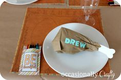 PAPER BAG DRUMSTICK. Simple Thanksgiving day craft for the kids to make for table favor. Fill with a treat. Also fill with treats for a Thanksgiving care package for a missionary or serviceman.