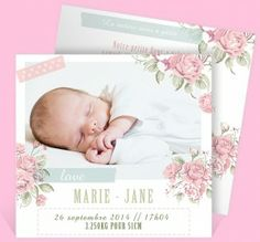 faire part fille romantique - monfairepart.com  | Ju2Framboise.com
