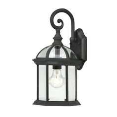 Enhance your outdoor decor with this black metal wall sconce. Featuring clear beveled glass and a textured finish, this lantern-style light gives your home an inviting, classy ambiance. With an open design this sconce is an easy way to update your home.
