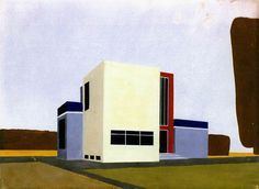 Farkas Molnar, Project for a single-family house, Inscribed 1922, Gouache over pencil on paper, 24 x 33 cm