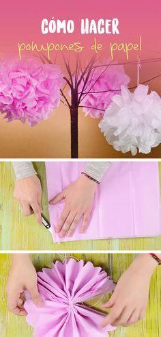 Aprende a hacer unos pompones de papel china son ideales para colocar en cualquier centro de mesa o incluso como guirnalda.