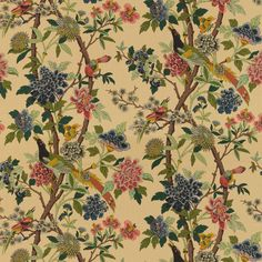 Online For Gp J Baker Hydrangea Bird Fabric Parchment From The East To West Collection Here At Fashion Interiors