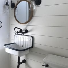Alape Bucket Sink with Navy Trim – Modern Farmhouse Sink Bathroom Trends, Bathroom Sets, Bathroom Faucets, Washroom, Master Bathroom, Bathroom Renovations, 1930s Bathroom, Bathroom Beadboard, Condo Bathroom