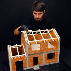 Making a Cement Mini House from little bricks Cool Paper Crafts, Diy Resin Crafts, Diy Crafts Hacks, Diy Arts And Crafts, Fun Crafts, Craft Work For Kids, Craft Projects For Kids, Diy For Kids, 5 Min Crafts