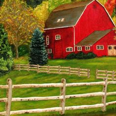 The Red Barn-- Painting by William Erwin - The Red Barn Fine Art Prints ...