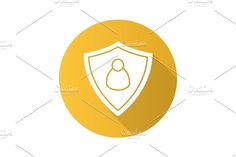 User security flat design long shadow icon. Human Icons