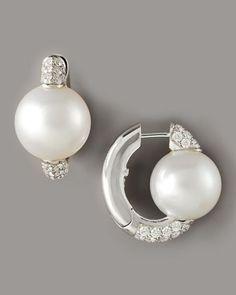 Pearl & Diamond Huggie Earrings by Assael at Neiman Marcus.