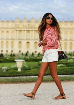 red stripped sweater and shorts