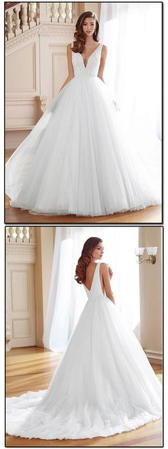 Glamorous Tulle V-neck Neckline A-Line Wedding Dresses With Beaded Lace Appliques