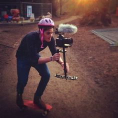 Always important to wear protection when stedicam skateboarding..