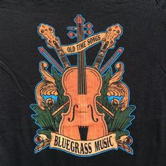 Bluegrass Old Time Songs tees on black shirts - country music musical instruments banjo fiddle