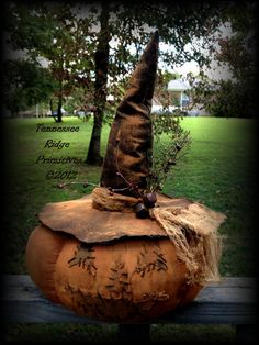 Extreme-Primitive-Grungy-Halloween-Jack-O-Lantern-Witch-Doll-Table-sitter-WOW