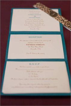 Simple DIY Wedding Invitations :  wedding brown diy invitations ivory teal Invite 3 fold instead of pocket?