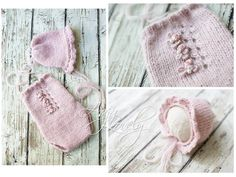 Handmade baby set romper and bonnet rose pale pink  by AajaLovely