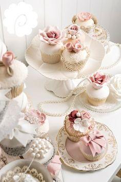 Vintage soft blush pink floral wedding cupcakes