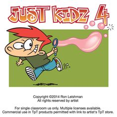 Funny cartoon clipart of kids being kids.