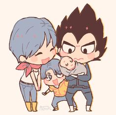 Bulma, Vegeta, Trunks, y Bulla Diabolik, Dragon Ball Z, Vegeta And Trunks, Chibi, Familia Anime, Dbz Characters, Anime Merchandise, Anime Costumes, Marvel