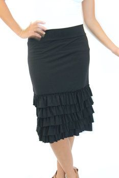 """3 in 1 Black Bring on the Frills Skirt Extender - Modern Vintage Boutique"" make a skirt to extend skirt/dress length"