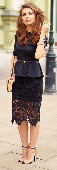 Pretty auburn hair! Love this peplum/lace dress! Women's fall fashion clothing outfit