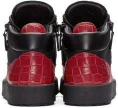 Giuseppe Zanotti - Black & Red London High-Top Sneakers
