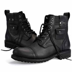 Men Black Leather Lace Up Retro Military Style Ankle Chelsea Boots SKU-1100455