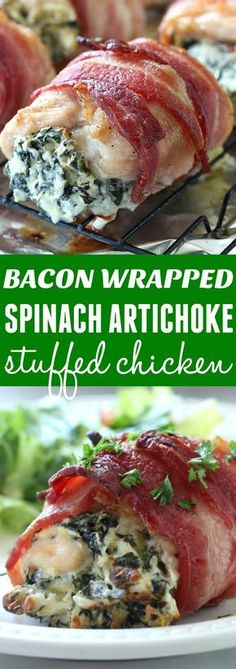 This Bacon Wrapped Spinach Artichoke Stuffed Chicken is one of my family's favorite dinners! So good and yummy! #VoteWrightBrandBacon #Sponsored #Ad