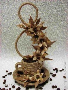 Поделка изделие 8 марта Моделирование конструирование Ароматная чашечка кофе для поднятия настроения или продолжение следует Бумага Клей Кофе Проволока Шпагат фото 1