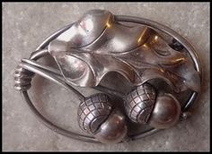 Georg Jensen oak leaf and acorns silver brooch.