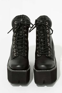 Jeffrey Campbell Nirvana Leather Boot - Black Square - Lace-Up  68391b366