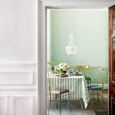 When we saw this room, originally featured on Home and Garden, we were immediately drawn toward the mint green wall, the stripes, the chande. Casa Color Pastel, Pastel Style, Pastel Mint, Pale Pink, Pink White, Mint Green Walls, Aqua Walls, Color Menta, My New Room