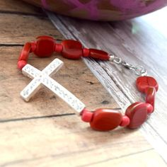Do you LOVE red?  Red is the color of love...Check out this beautiful Rhinestone Cross Bracelet  by #AllAboutJESUSDesigns