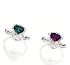 ALEXANDRITE AND DIAMOND RING.  Centring on a triangular alexandrite weighing 1.59 carats, to a stylised mount set with pear-shaped and brilliant-cut diamonds together weighing approximately 1.05 carats, mounted in platinum.