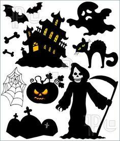 Illustration of Set of Halloween silhouettes - vector illustration.